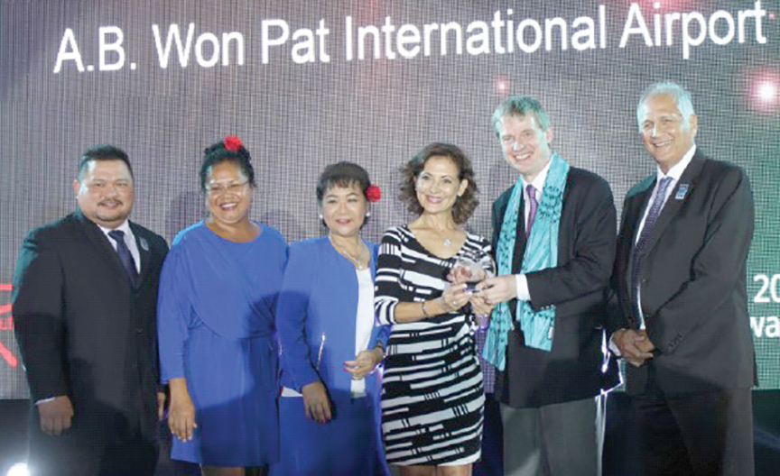 (From left) Frederick Tupaz, consultant, TMG; Elfrieda Koshiba, marketing coordinator; Rosalinda A. Tolan, board director, GIAA; Katherine C. Sgro, board director, all three with the Guam International Airport Authority; Christopher Eve, senior vice president, UBM Asia; and Peter Roy Martinez, deputy executive manager, GIAA.
